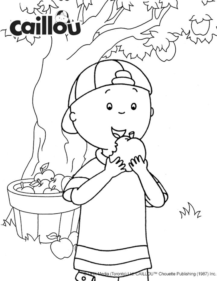 Coloriage caillou cueillette de pommes caillou - Caillou coloriage ...