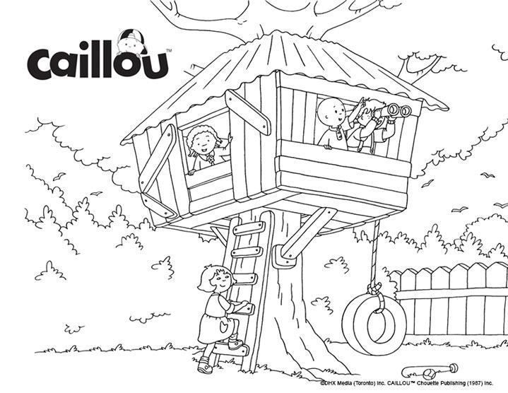 Coloriage Caillou - La cabane dans les arbres - Caillou